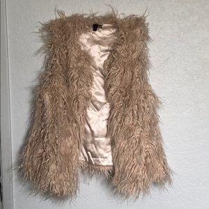 Champagne faux fur vest